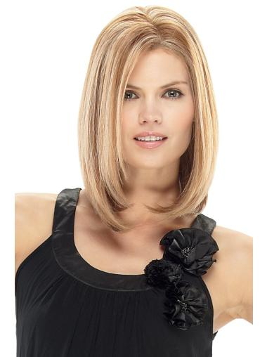Style Blonde Straight Shoulder Length Lace Front Wigs
