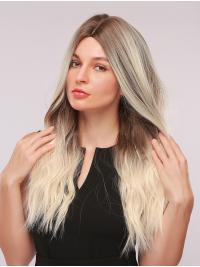 Natural Wavy Synthetic Wig Without Bangs Dark Brown to Platinum Blonde Wig Heat Resistant Fiber Cosplay Party Wig for Women 22 Inches