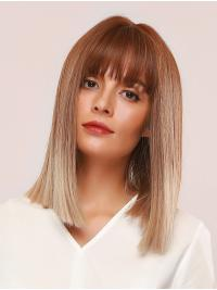 Women Blonde Straight Wig 14 Inches with Fringes Ombre Long Bobs Heat Resistant Fiber Synthetic Hair Wig Natural Full Wigs for Cosplay Halloween Fancy Dress Party Daily Wear