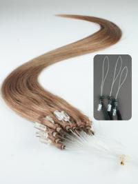 Tempting Brown Straight Remy Human Hair Hair Extensions Micro Loop Ring