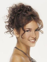 Designed Brown Curly Clip in Hairpieces