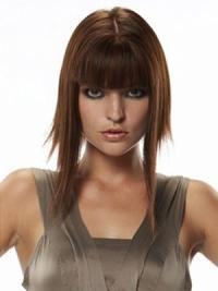 Trendy Auburn Straight Long Human Hair Hairpieces