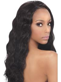 Braw Black Wavy Long Synthetic Lace Front Wigs