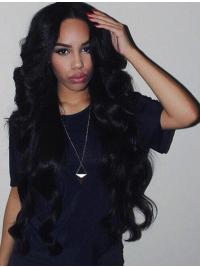 """Remy Human Hair 26"""" Without Bangs Black Wavy 360 Lace Wigs"""
