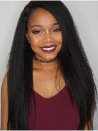 """Black Kinky 22"""" Without Bangs Remy Human Hair 360 Lace Wigs"""
