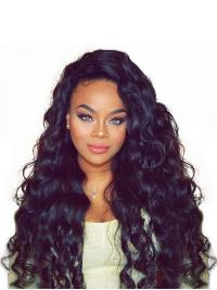 """Black Curly 20"""" Without Bangs Remy Human Hair 360 Lace Wigs"""