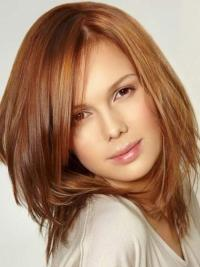 Fashionable Auburn Lace Front Shoulder Length Celebrity Wigs