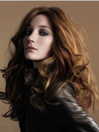 Stylish Remy Human Hair Brown Wavy Long Wigs