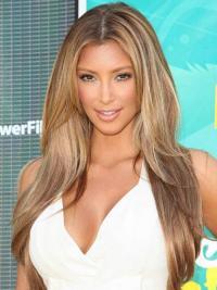 Designed Blonde Monofilament Long Celebrity Wigs