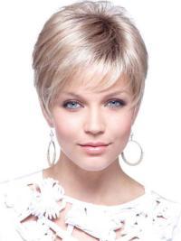 Elegant Blonde Straight Cropped Petite Wigs
