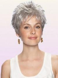 Durable Wavy Cropped Synthetic Grey Wigs