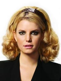 Modern Blonde Curly Shoulder Length Human Hair Wigs & Half Wigs