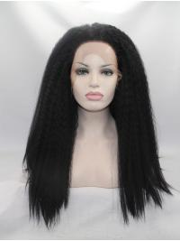 """17"""" Kinky Synthetic Black Without Bangs Long Lace Front Wigs"""